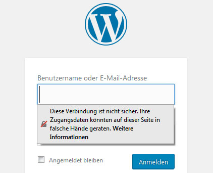 Firefox warnt vor HTTP-Verbindungen